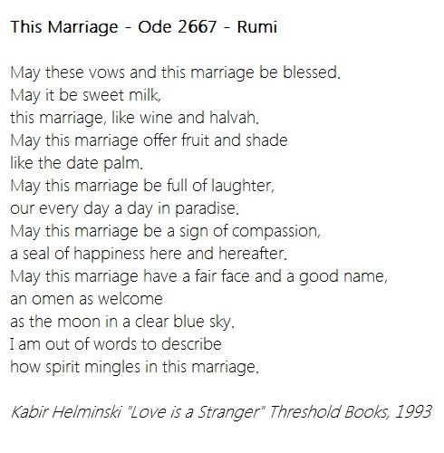 Rumi This Marriage Ode 2667 Vows Man And Wife Marriage