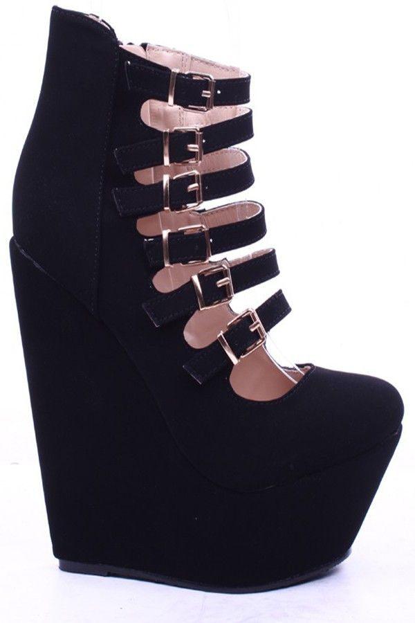 Women's Strappy Cut Out Wedge Platform Sandle With Zipper Clousure
