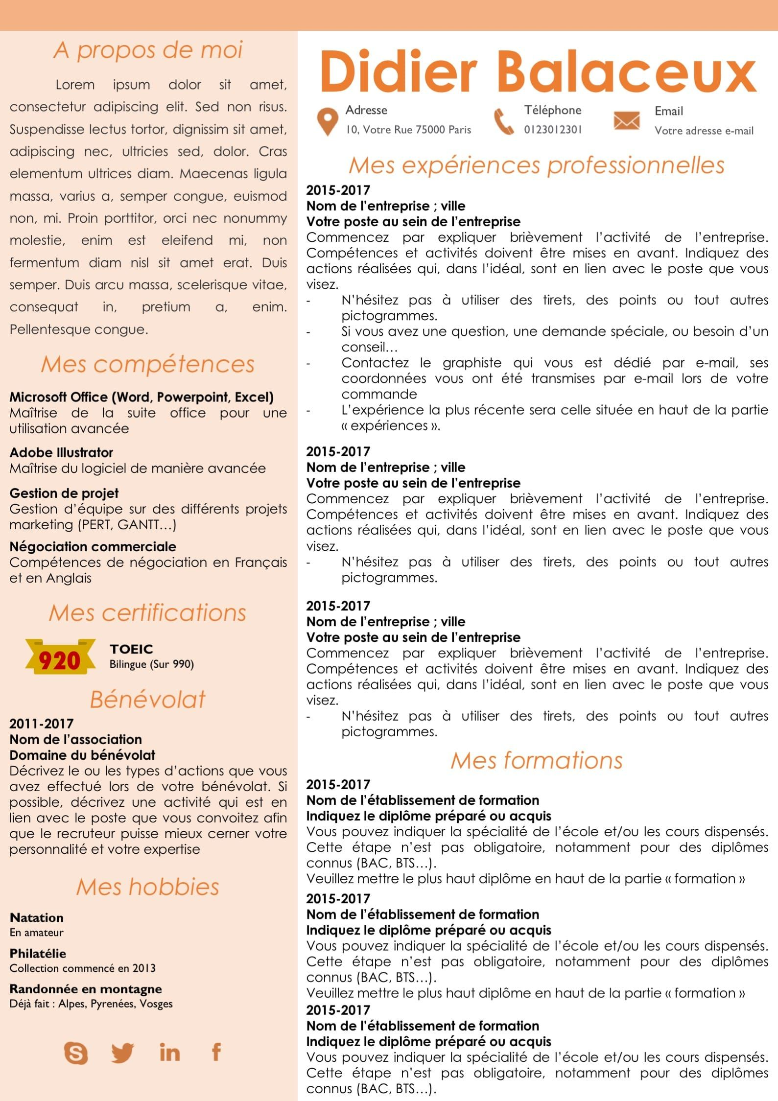Modele Cv Et Lettre De Motivation Orange Modifiable Pour 6 99 Best Resume Job Resume Examples Cover Letter For Resume