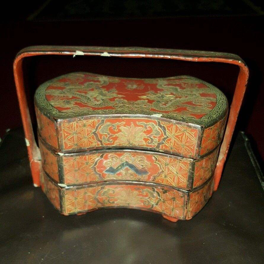 Asian Wedding Gift Baskets: Early Antique Chinese Wedding Dowery Red Black Lacquer