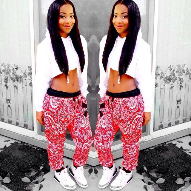 fine red bandana joggers outfit black