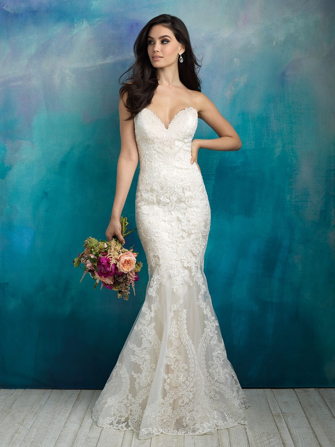 Style: 9516 An exaggerated illusion neckline lends modernity to this ...
