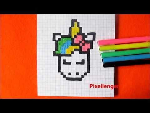 Как нарисовать Единорога по клеточкам в тетради Пиксель ...