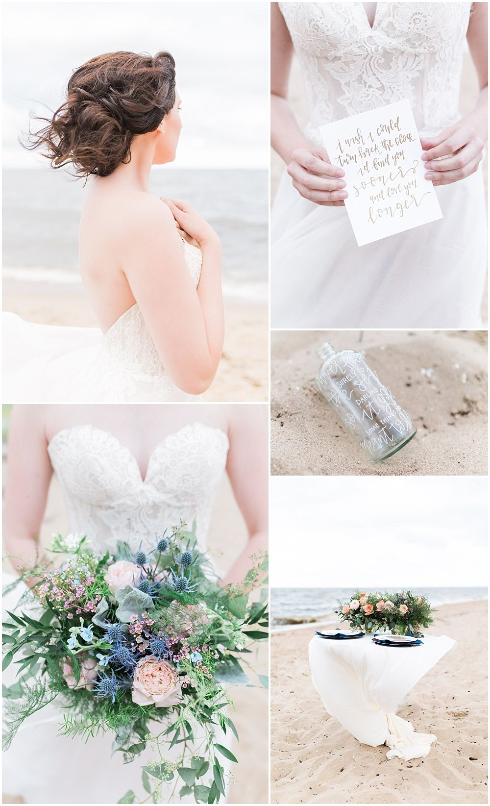 Maryland Beach Wedding Windswept Southern Bouquet And Strapless Dress
