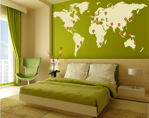 world map mural with indicators for where you have been or where ...