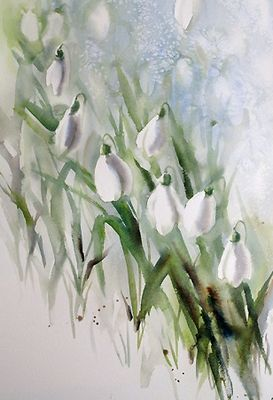 Kaye Parmenter Snowdrops Floral Watercolor Flower Painting Watercolor Flowers