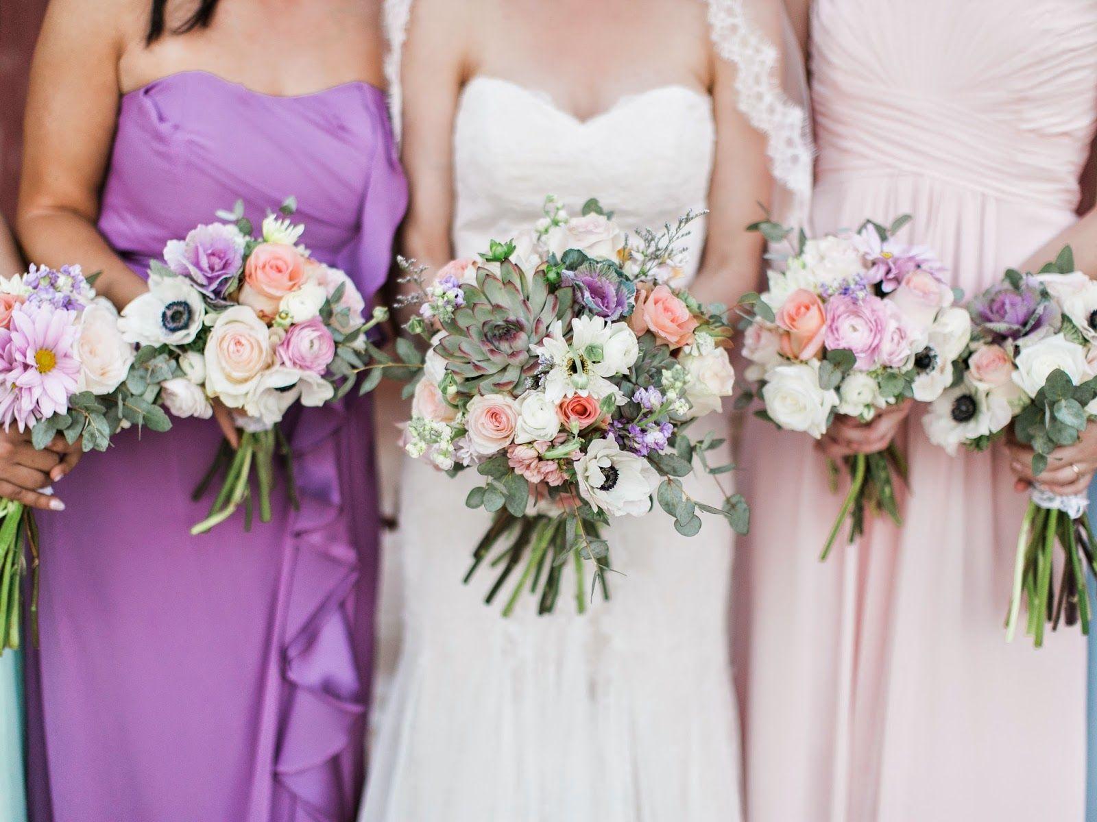 Bridal Bouquet Bridesmaids Bouquets Succulent Kale Anemone