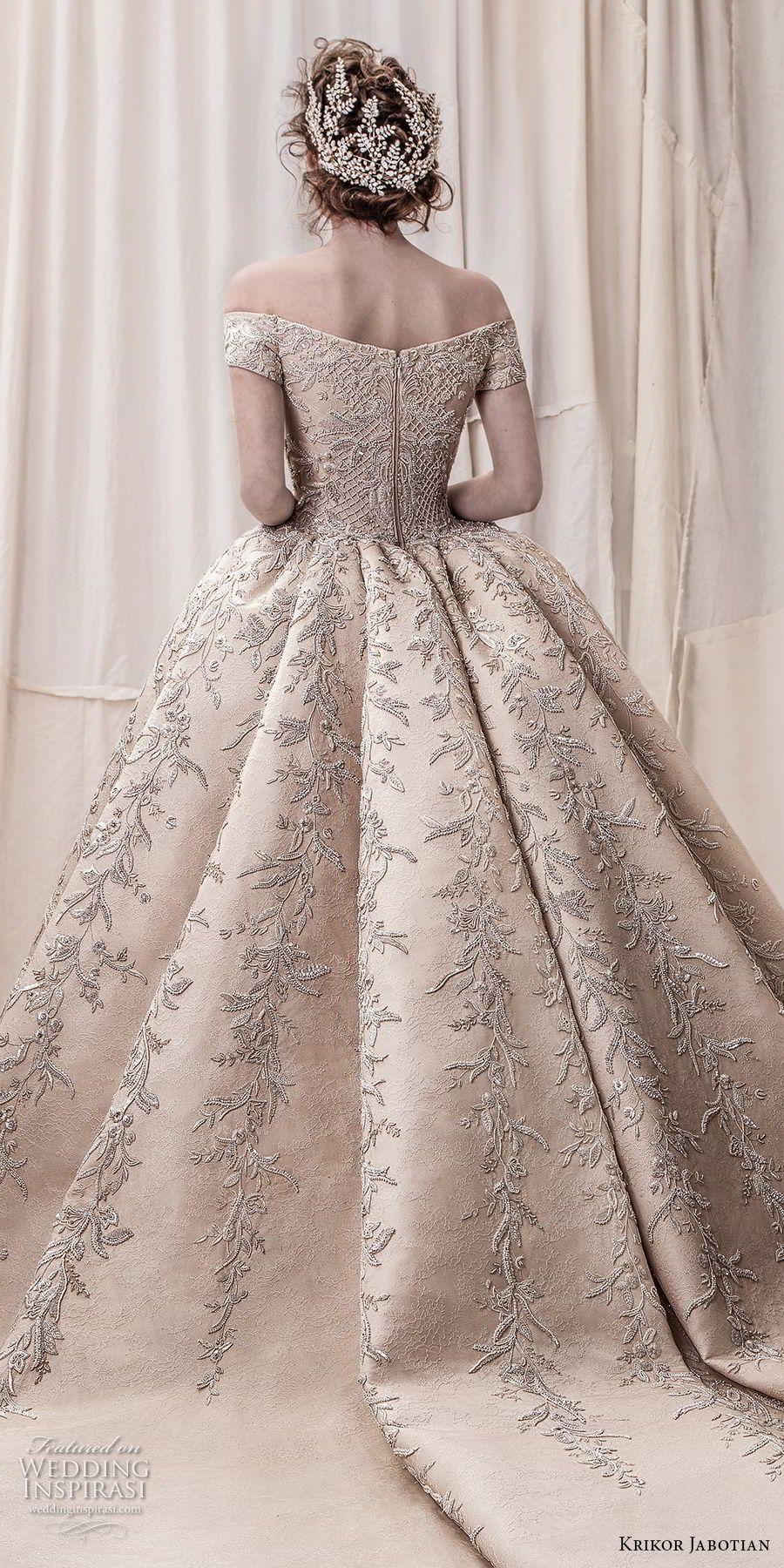 1ce7529ef71 krikor jabotian spring 2018 bridal off the shoulder straight across neck  full embellishment champagne gold princess ball gown a line wedding dress  royal ...