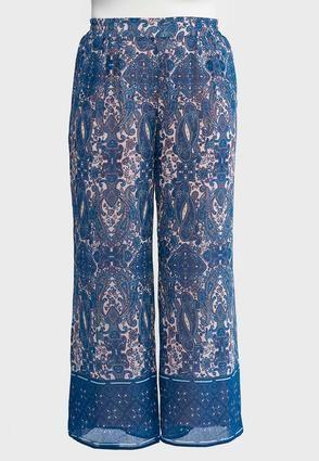 96196ed22e7 Cato Fashions Plus Petite Border Paisley Palazzo Pants  CatoFashions ...