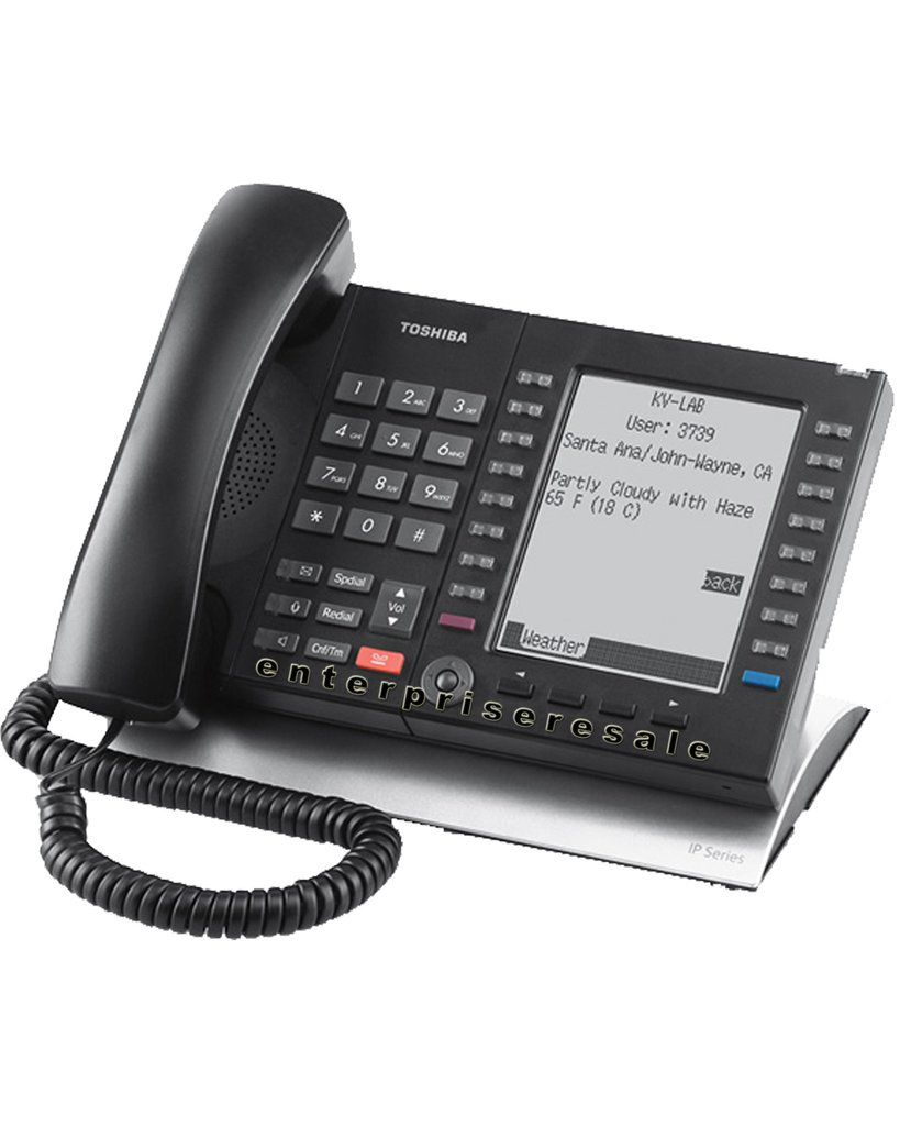 Toshiba 20 On Black Speaker Display Ip Phone Backlit Lcd Refurbished 1 Year Warranty Includes New Handset Cord The Te