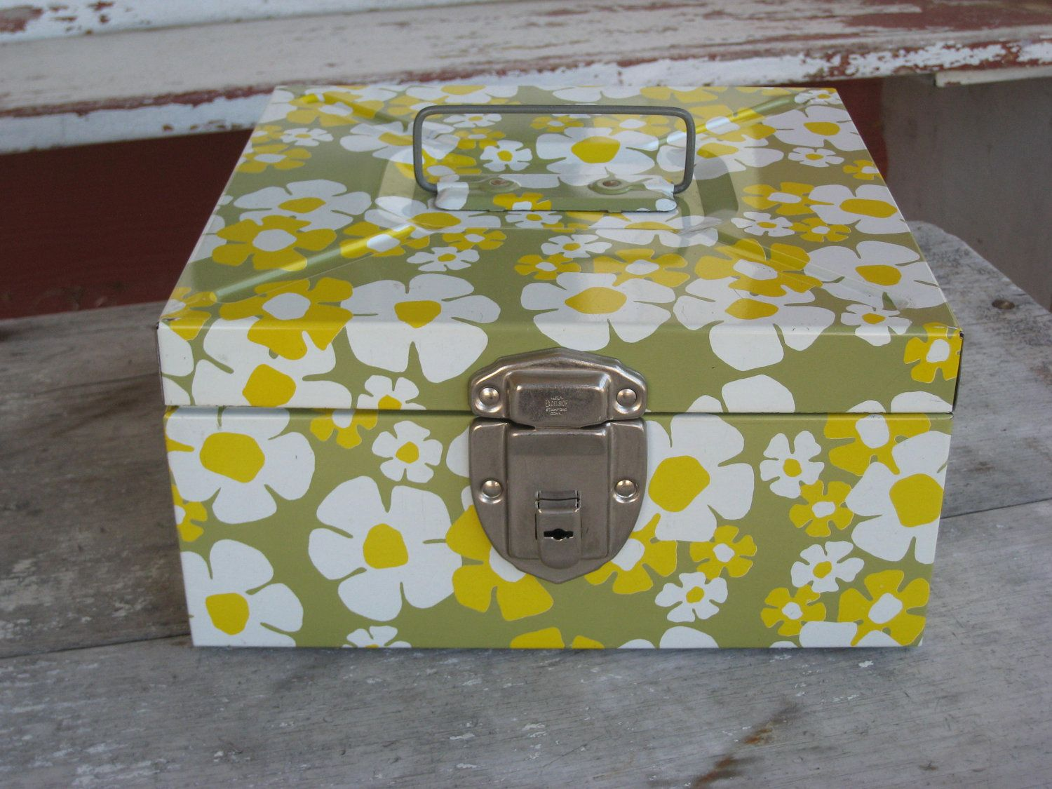 Vintage 1960s Metal File Box Flower Power Daisy Excelsior Metal Strong box (3671-W). $24.00, via Etsy.