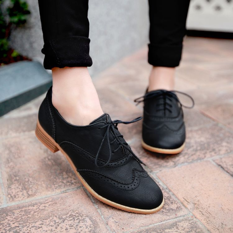 New 2016 Womens Oxfords England Women Black Carved Leather Lace up Flat  Shoes size 34 43
