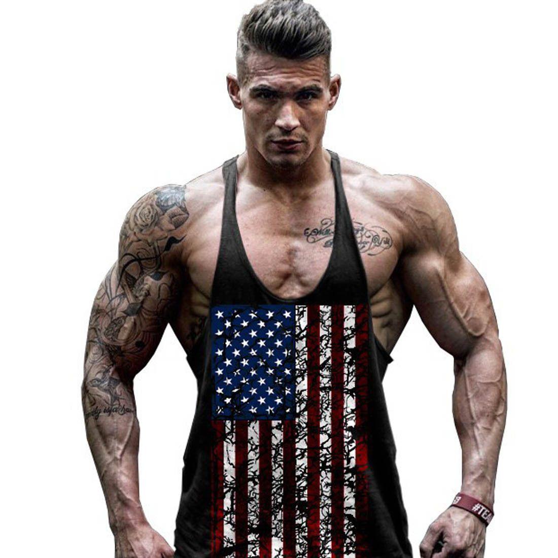 c1f829bdff400 Men Slim Bodybuilding Sleeveless Shirts Flag Top Gym Singlet Sports Vest T- Shirt