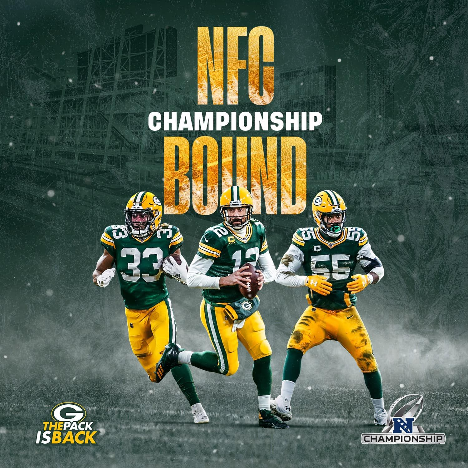 Nfc Championship Bound In 2020 Green Bay Packers Football Green Bay Football Nfc Championship Game