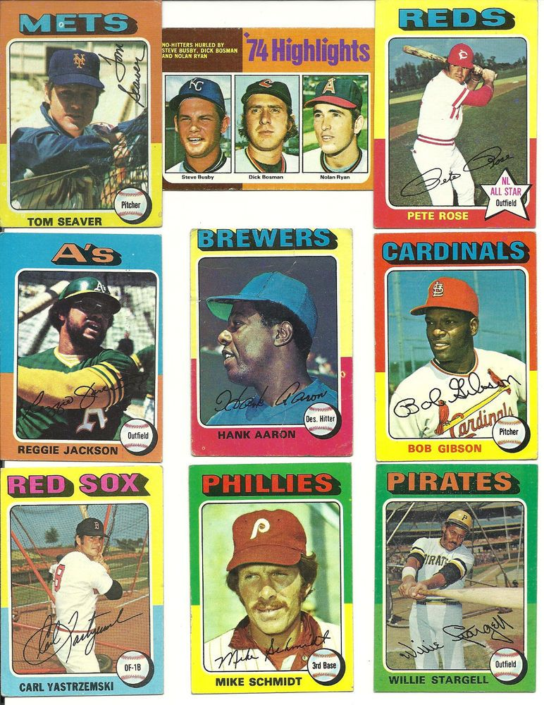 1975 vintage topps near complete ex condition set 607660