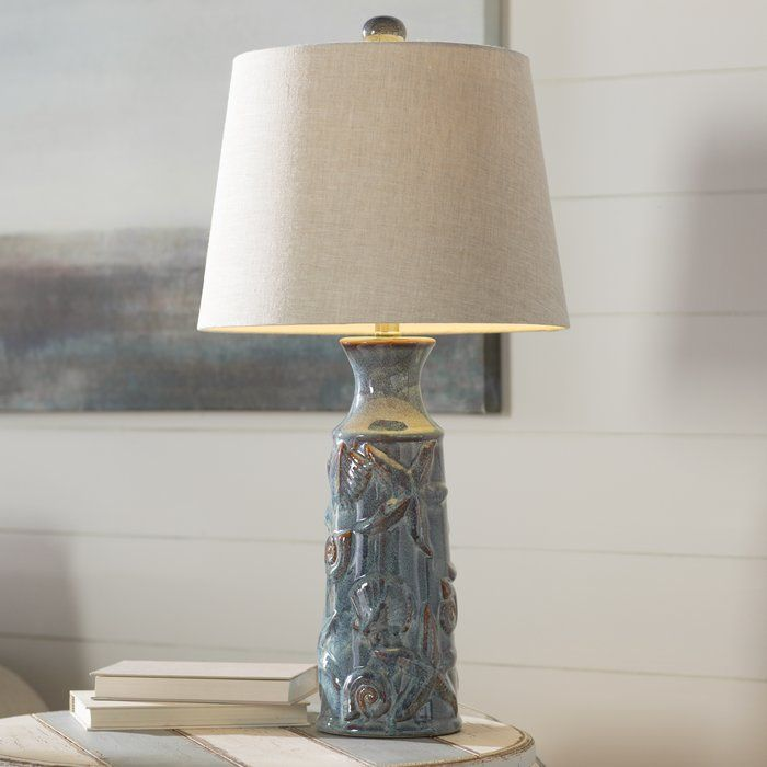 Blue starfish patterned ceramic 30 table lamp