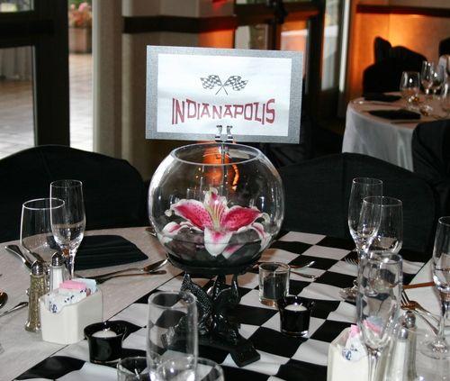 Ideas For Wedding Table Names: NASCAR Wedding Table Centerpiece Idea
