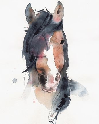 Watercolor Art Horse Tierillustration Tiere Malen Aquarell Tiere