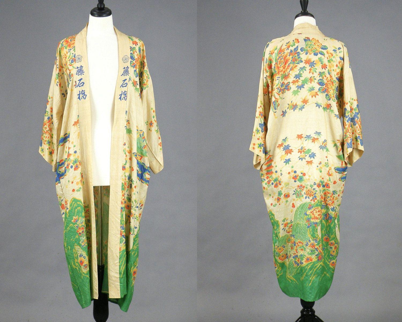 1920s Kimono, 20s Pongee Silk Robe, Antique Japanese ...