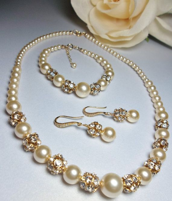 Gold Pearl Set Swarovski Pearls 3 Piece Earrings Necklace And Bracelet Brides Wedding Bridal Jewelry For A Bride Isabella Accessories