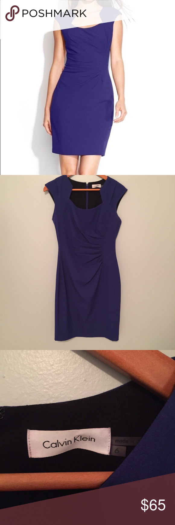 Calvin Klein sheath dress Beautiful plum color with flattering neckline.  Like new condition!  Fits TTS. Measurements happily given upon request!  No trades. Reasonable offers welcome 🍾Note: 20% off bundles of 2+ items in my closet! Calvin Klein Dresses