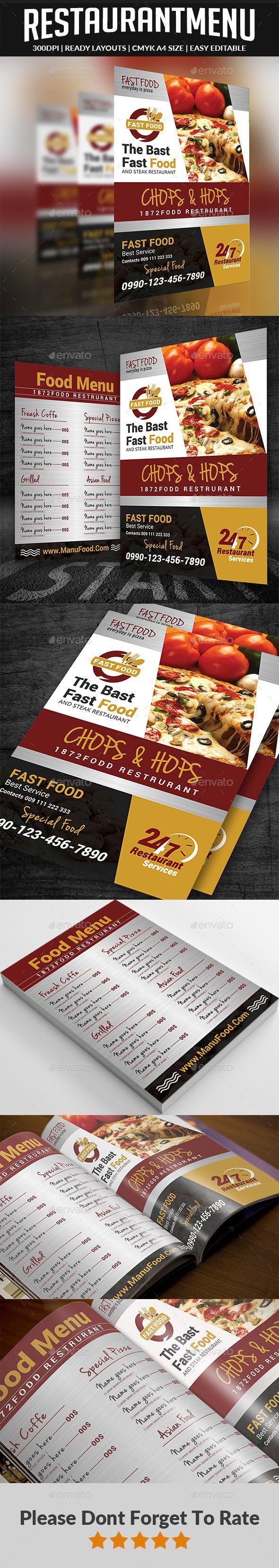 Restaurant Menu Flyer | Pinterest | Food menu, Print templates and ...