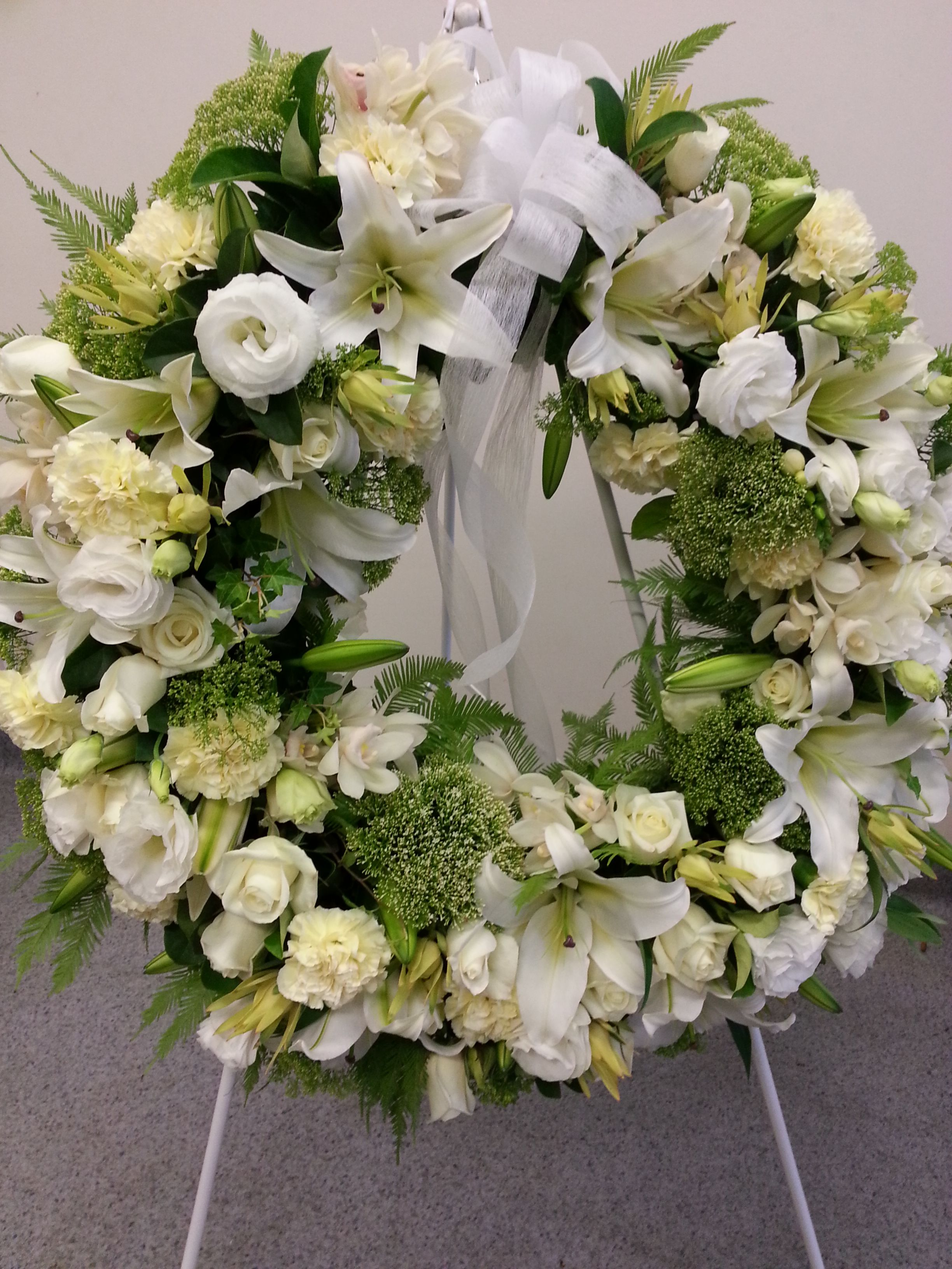 White Wreath White wreath, Wreath stand, Wreaths