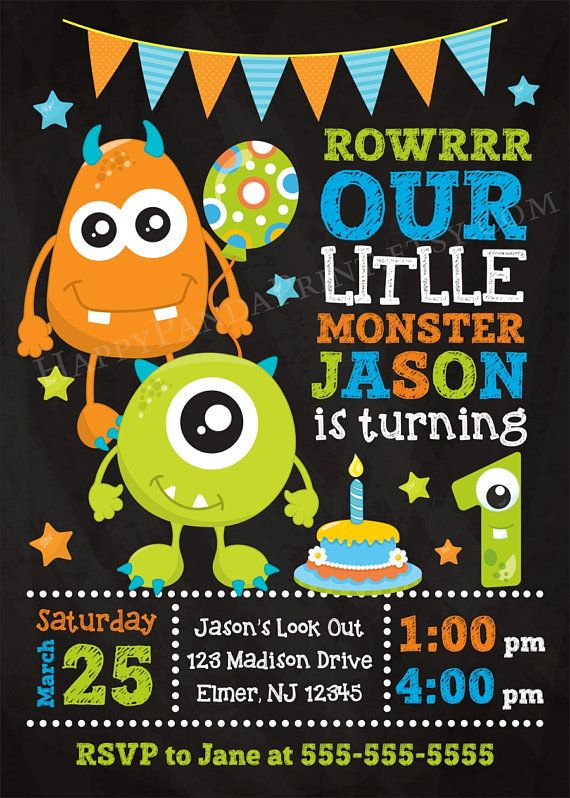 MONSTER Birthday Invitation Monster Invitation Monster 1st 2nd 3rd