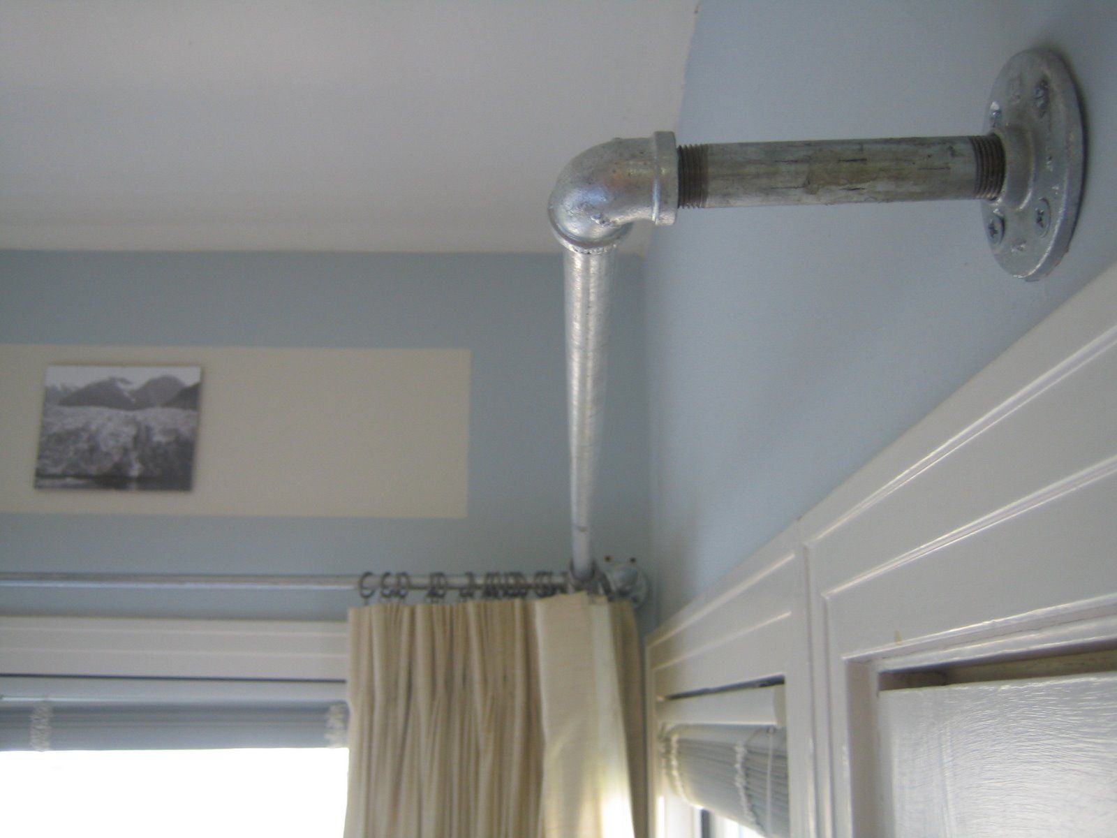 window galvanized pipe curtain rods could be used for curtains for closet