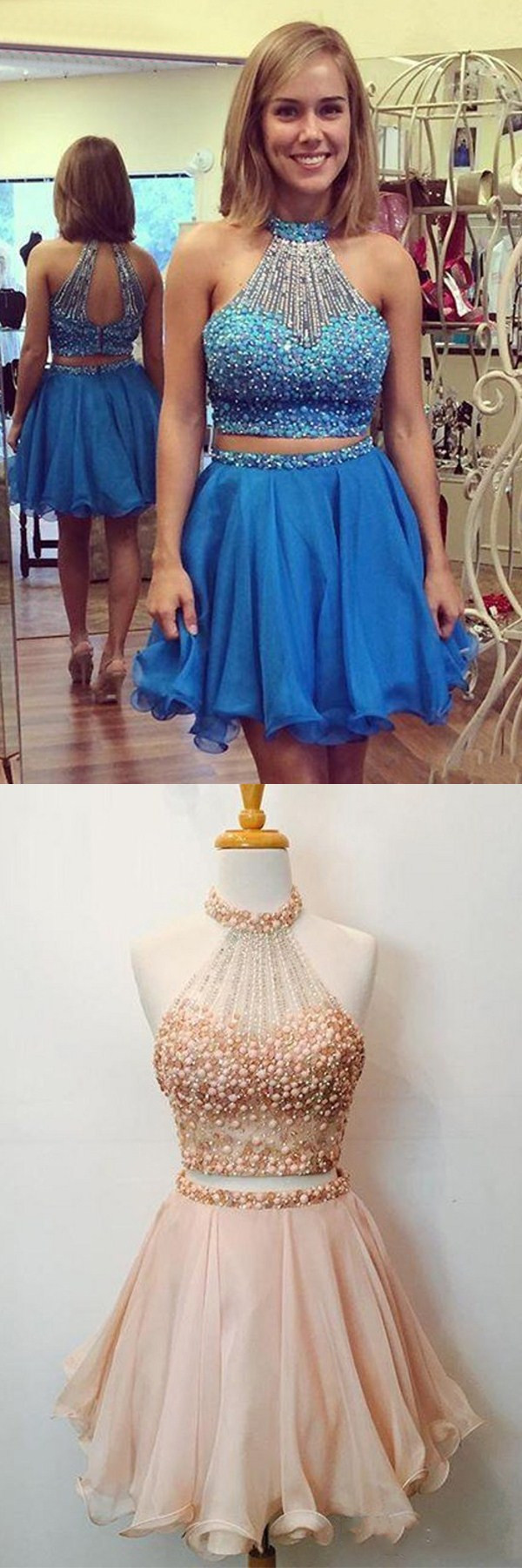 Nectarean two pieces halter sleeveless homecoming dress with beaded