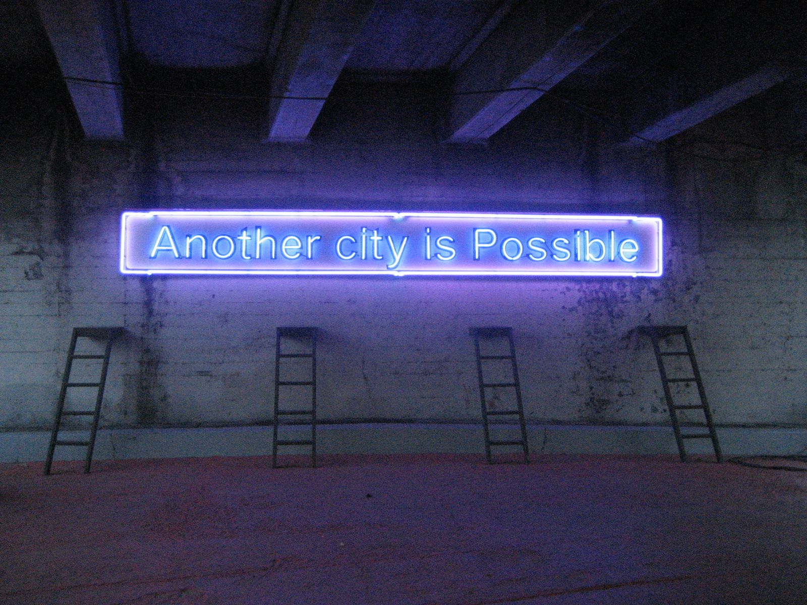 Located in downtown Los Angeles, this neon sign quotes Manuel Castells,