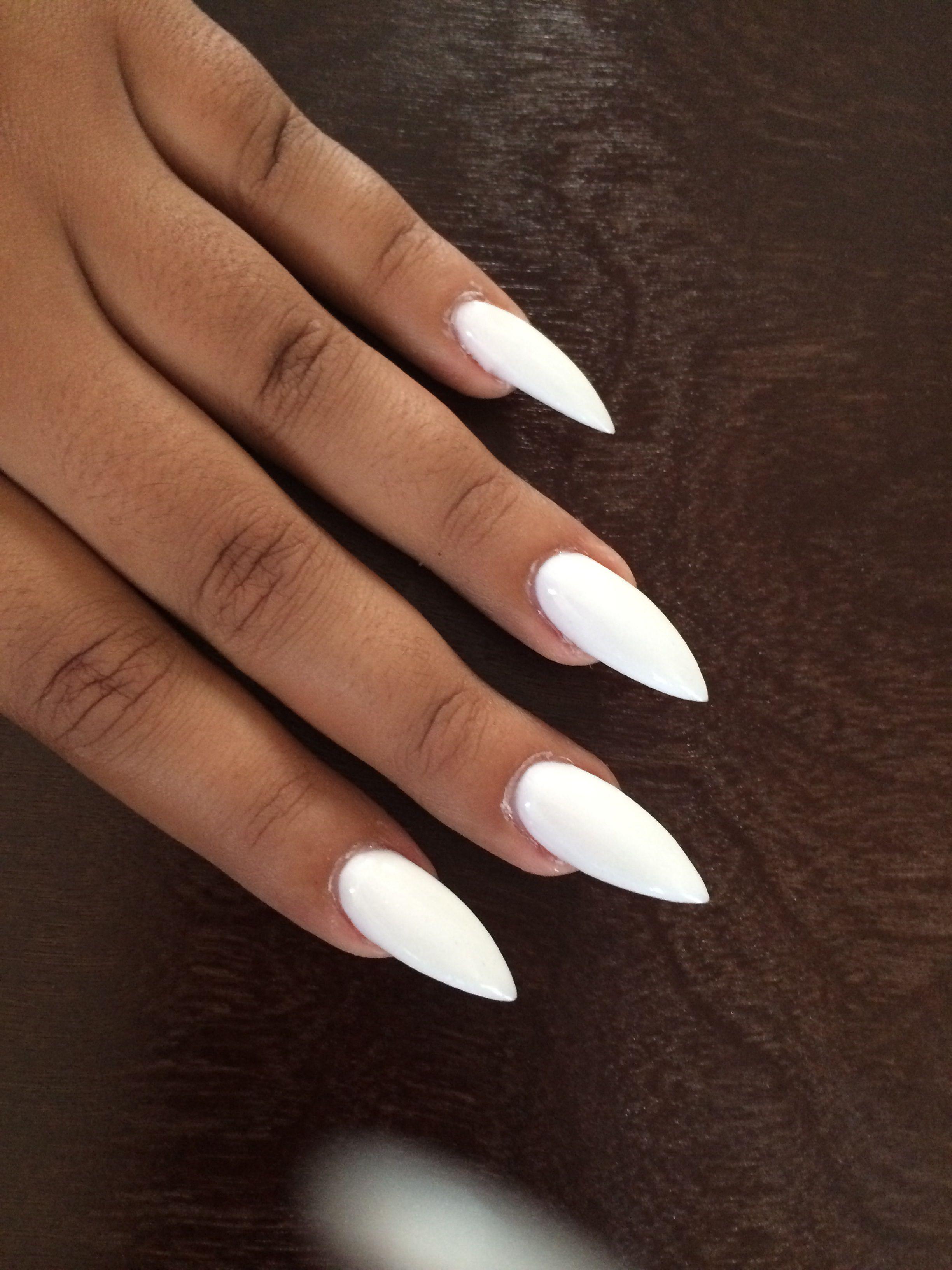 All White Stilletto Nails Stilletto Nails White Stiletto Nails White Nails