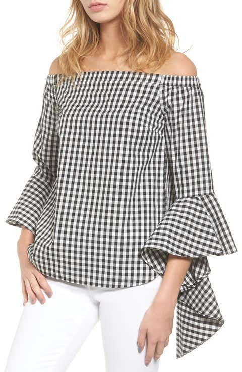 7981218cacd Chelsea28 Gingham Off the Shoulder Blouse | Influencer Project ...