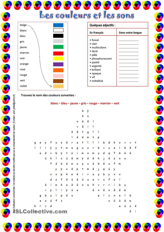 Les couleurs et les sons | Clases de francés, Aprender ...
