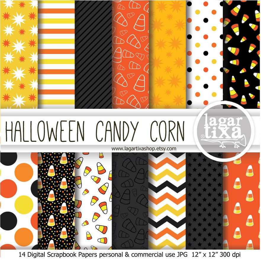 Candy Corn Halloween digital paper Gray Grey Black Yellow