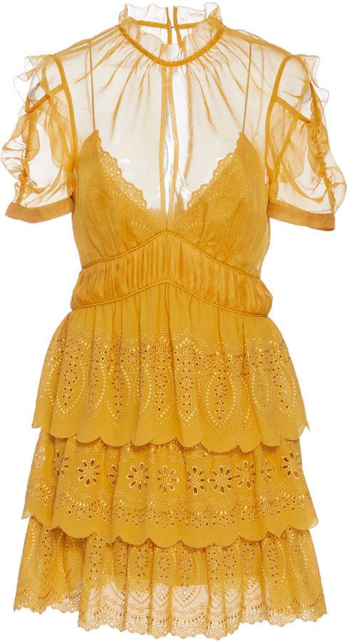 Cheap Fake Outlet In China printed and one shoulder mini dress - Yellow & Orange Self Portrait Limit Offer Cheap qS7XZ