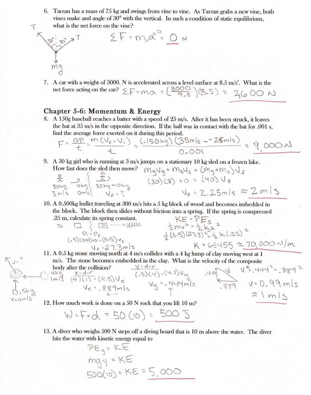 10 Work And Energy Physics Worksheet Answers Work Chartsheet Net In 2020 Physics Answers Worksheet Template Fall Worksheets