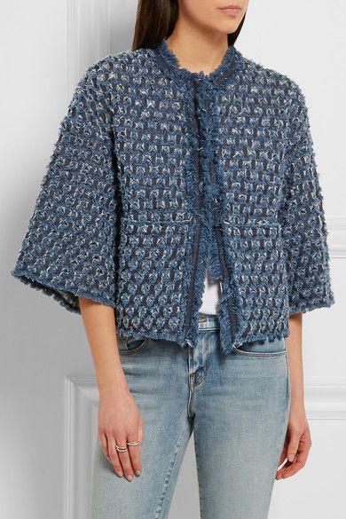 40c4a992c9 Sonia Rykiel | Frayed laser-cut denim jacket | NET-A-PORTER.COM ...