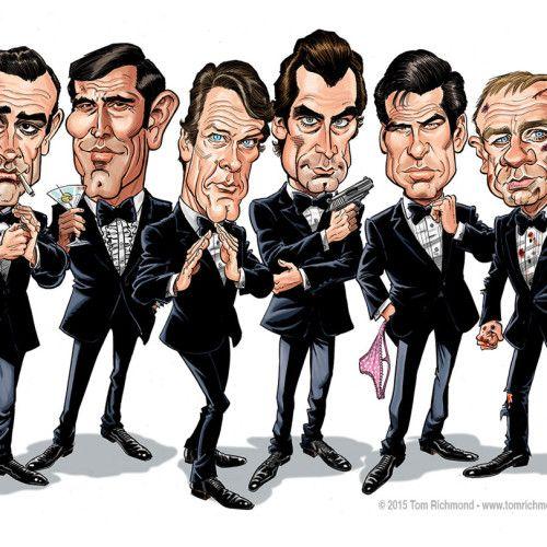 The James Bonds Tom Richmond Creative Caricatures