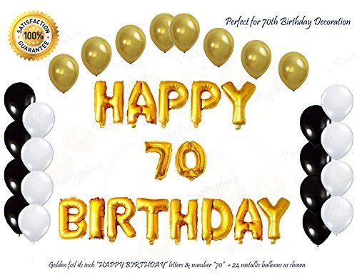 Golden Happy Birthday 70 Letters Balloon Decorations Bund