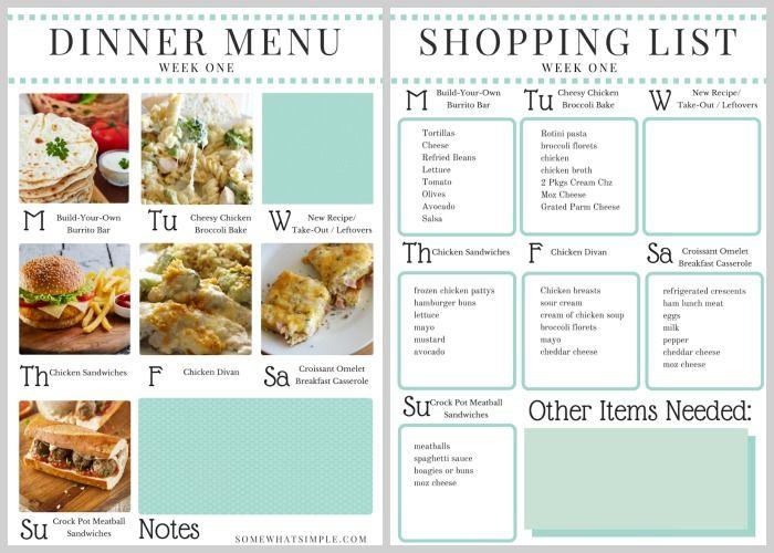 Dinner Menu- Week 1 Menu, Dinners and Dinner table - dinner menu