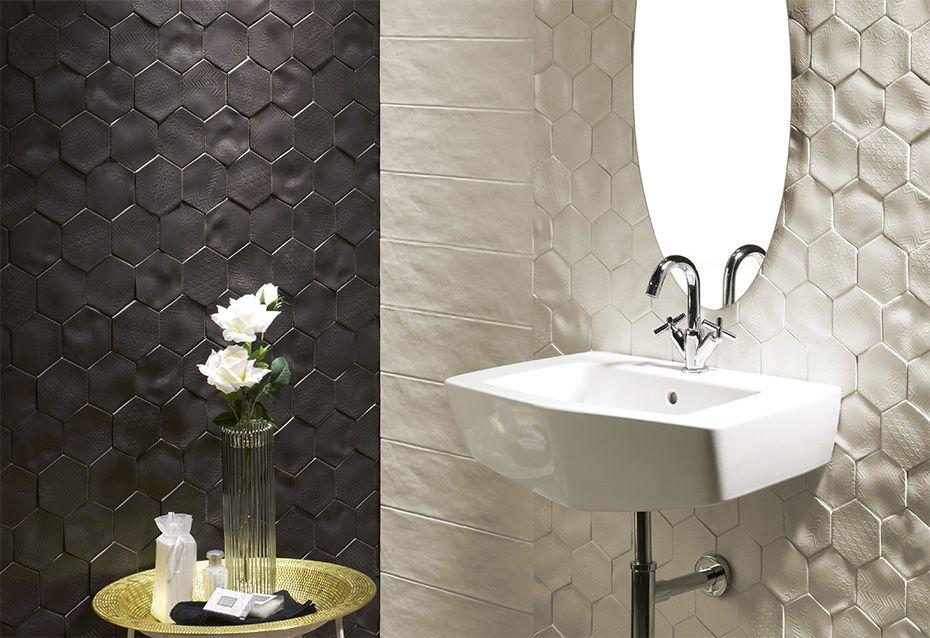 Azulejo Ceramico Para Paredes En Formato Hexagonal De La Serie