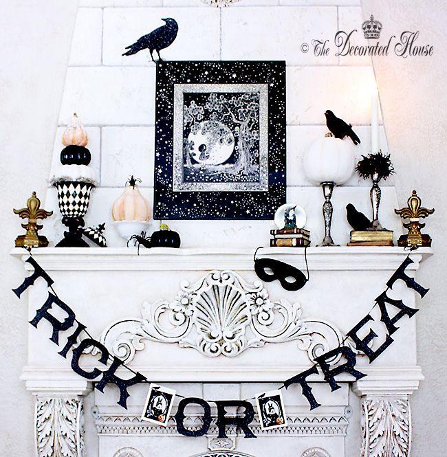 Halloween Mantel Decorating - Black  White Halloween Decorating