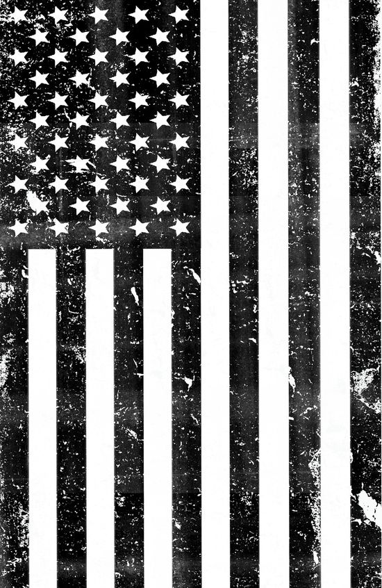 Dirty Vintage Black And White American Flag Art Print
