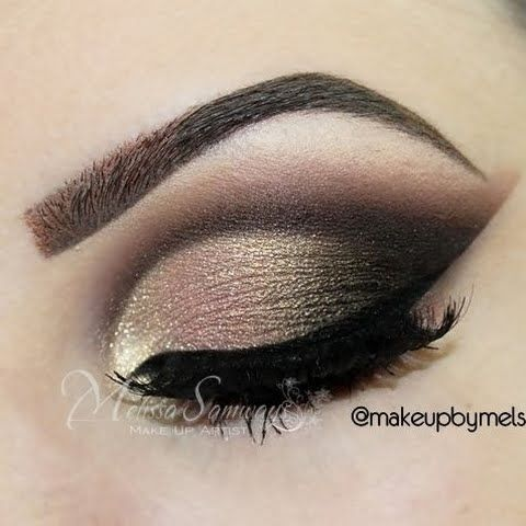 Dramatic Brown 2 by Mel S: brown, gold, and champagne eye makeup