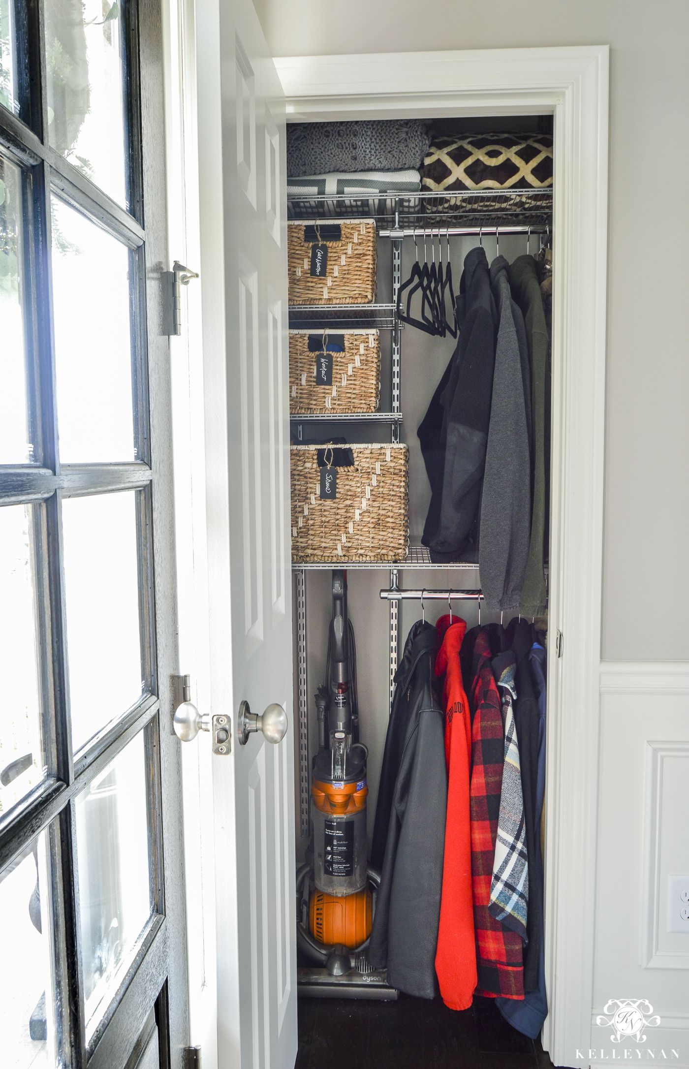 Closet Organization Organized Foyer Coat Closet Before And After Makeover Kelley