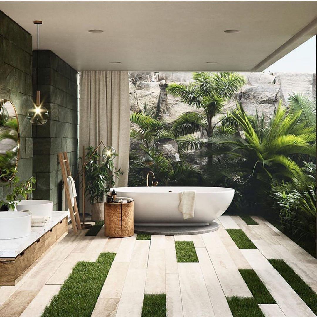 "Photo of Ashley Stark Kenner on Instagram: ""Indoor outdoor bathroom vibes. Love how the patterned floor mimics the outside. @pixelversemx • • • • •  #bathroom #bathroomdesign…"""