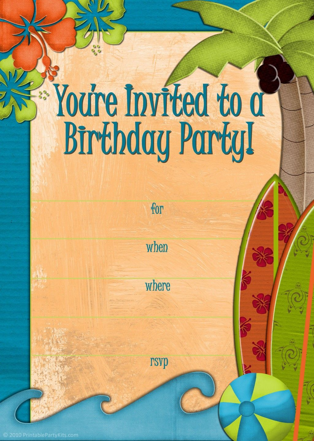It is a graphic of Trust Beach Party Invitations Free Printable