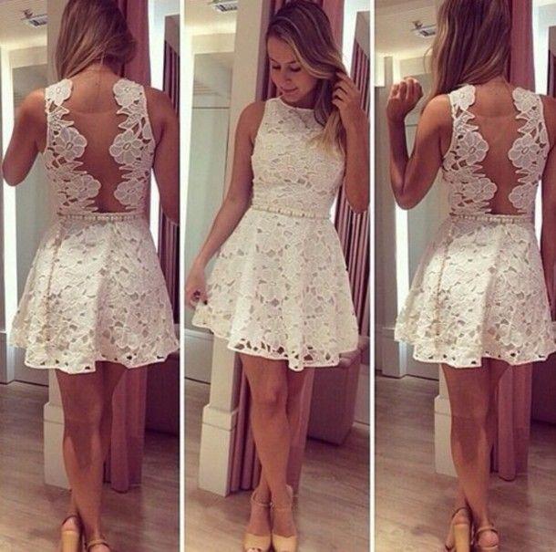 Vestido corto de blonda blanco
