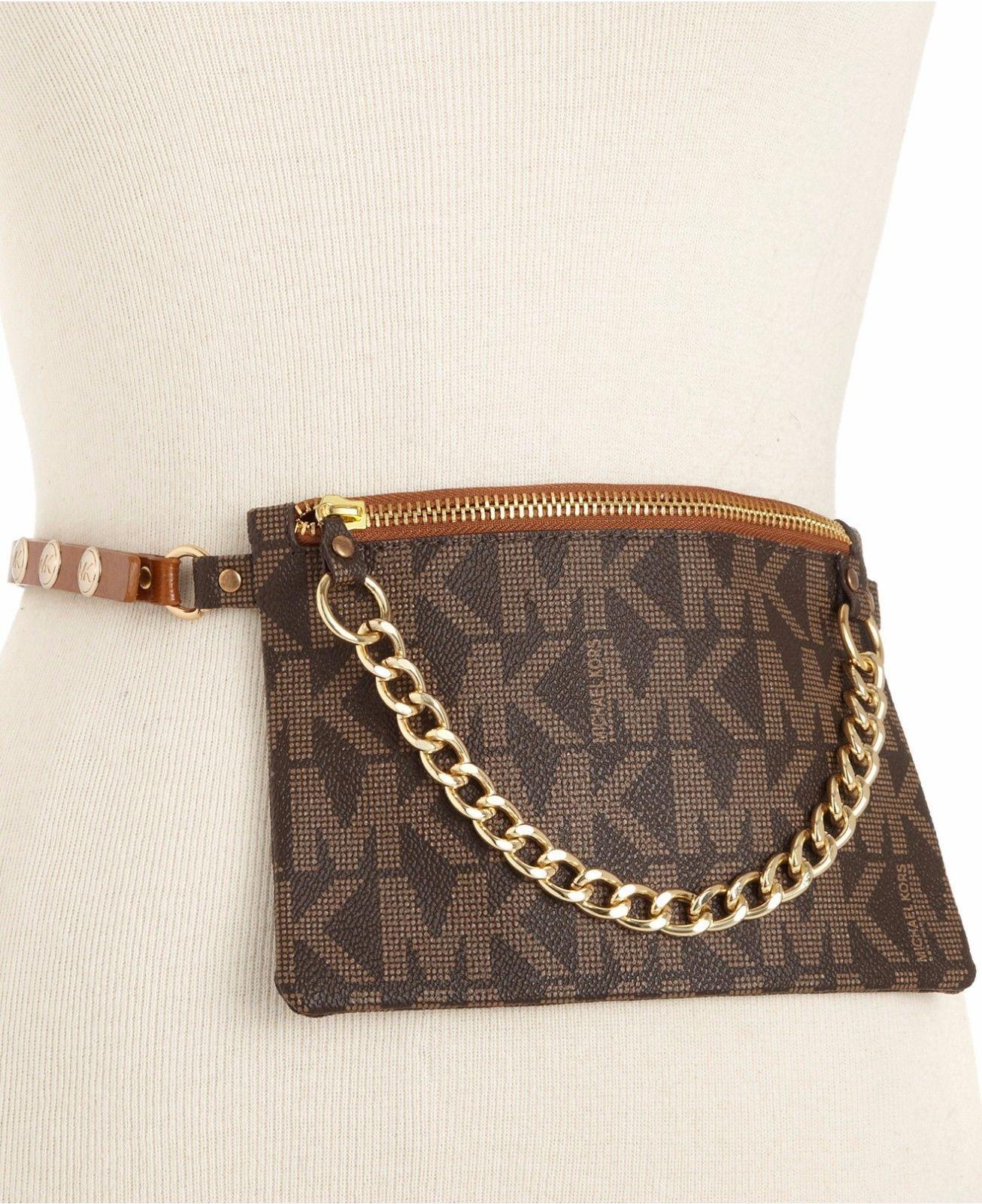 dfba8d555619 Michael Kors Chocolate Brown Monogram Belt Fanny Pack Wristlet Bag NWT s  Small